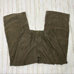 Minnie Rose Green 100% Silk Pull On Pants